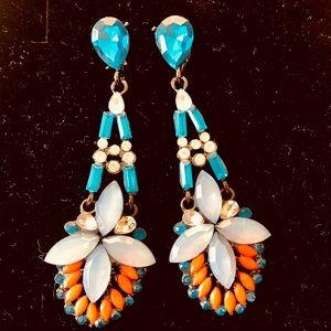Jewelry - Chandelier earrings; turquoise, light blue, orange